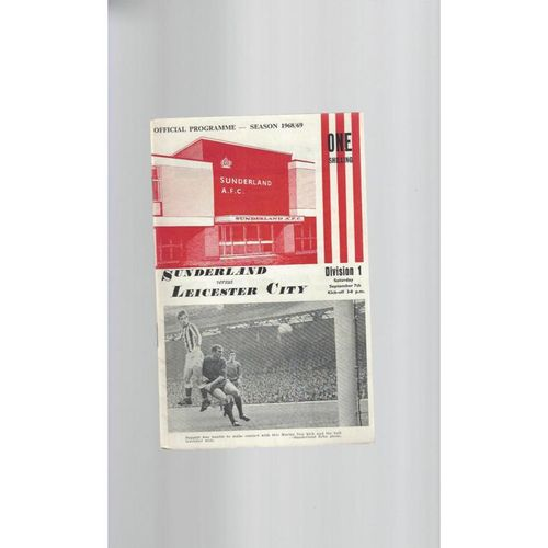 1968/69 Sunderland v Leicester City Football Programme + League Review