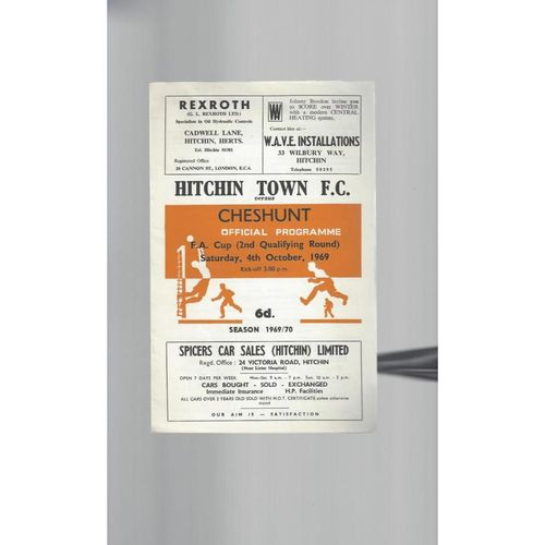 1969/70 Hitchin Town v Cheshunt FA Cup Football Programme