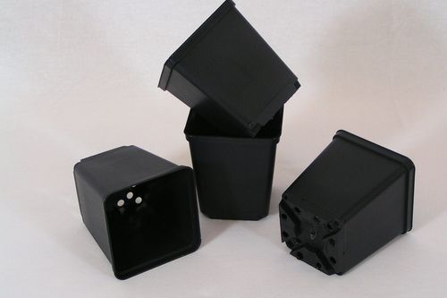 7cm Square plant pots strong black plastic
