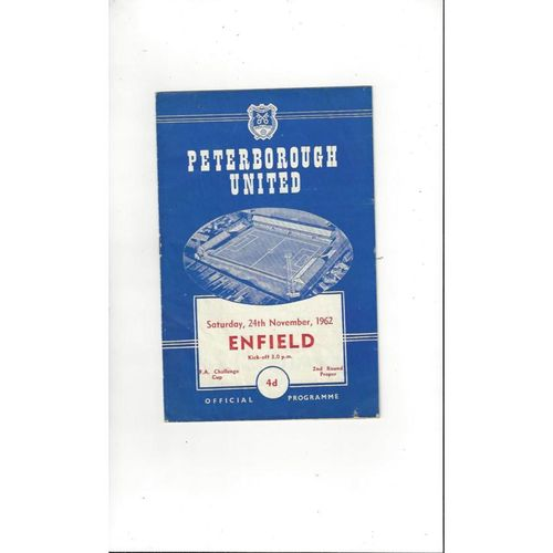 1962/63 Peterborough United v Enfield FA Cup Football Programme