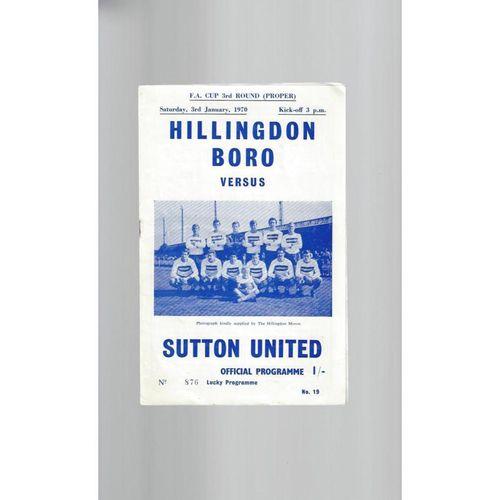 1969/70 Hillingdon Borough v Sutton United FA Cup Football Programme