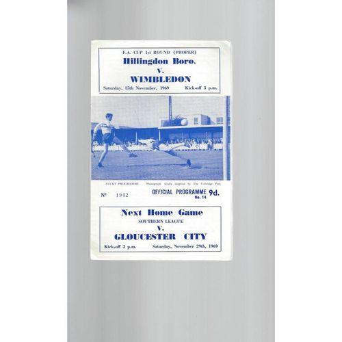 1969/70 Hillingdon Borough v Wimbledon FA Cup Football Programme