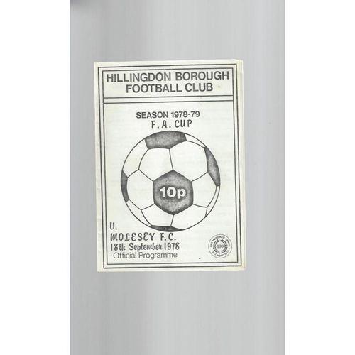 1978/79 Hillingdon Borough v Molesey FA Cup Football Programme