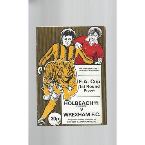 Holbeach United v Wrexham FA Cup Football Programme 1982/83