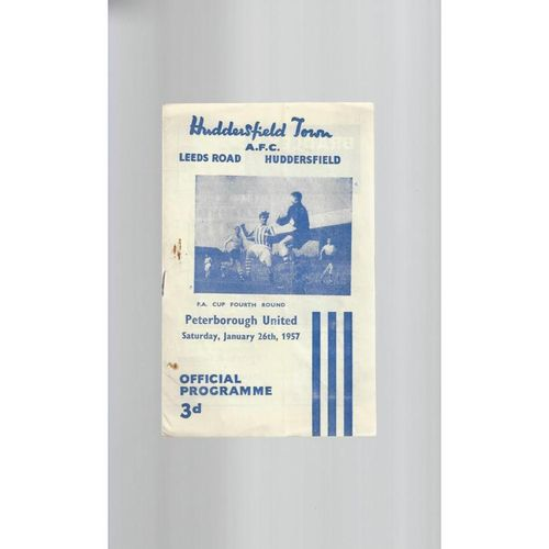 1956/57 Huddersfield Town v Peterborough United FA Cup Football Programme