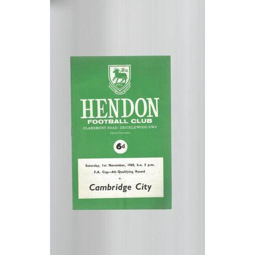 Hendon v Cambridge City FA Cup Football Programme 1969/70