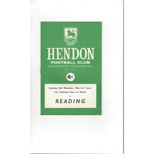 1966/67 Hendon v Reading FA Cup Football Programme + Insert