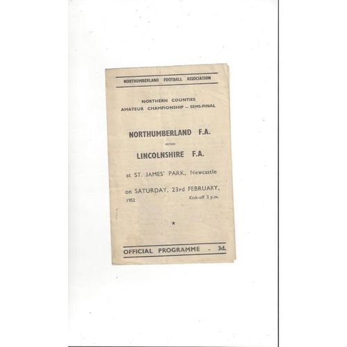Northumberland v Lincolnshire Northern Counties Semi Final 1951/52 @ Newcastle