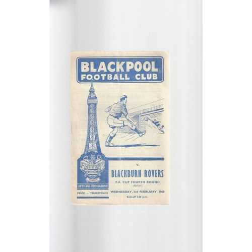 1959/60 Blackpool v Blackburn Rovers FA Cup Replay Football Programme