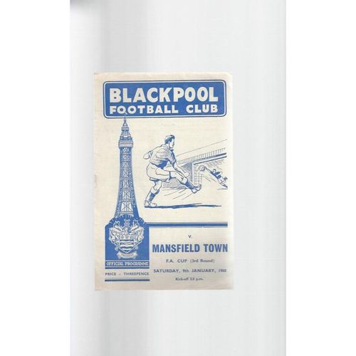 1959/60 Blackpool v Mansfield Town FA Cup Football Programme