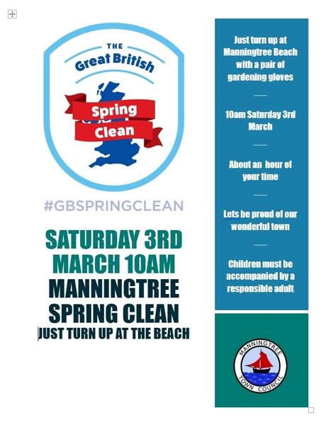 POSTPONED!! Manningtree Spring Clean Saturday 3rd March 2018