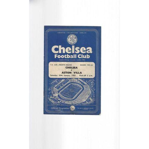 1959/60 Chelsea v Aston Villa FA Cup Football Programme