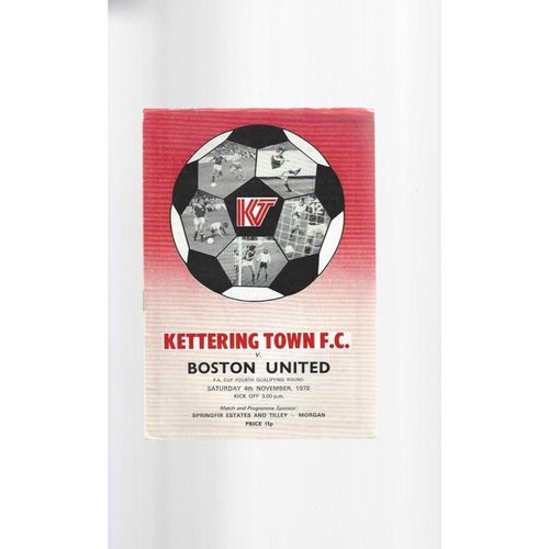 1978/79 Kettering Town v Boston United FA Cup Football Programme