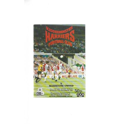 1987/88 Kidderminster Harriers v Maidstone United FA Cup Replay Programme