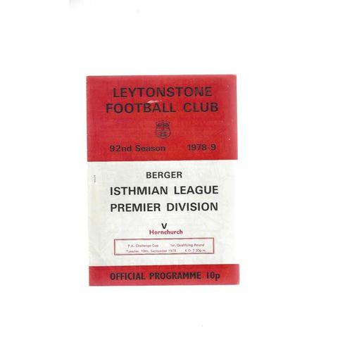 1978/79 Leytonstone v Hornchurch FA Cup Football Programme