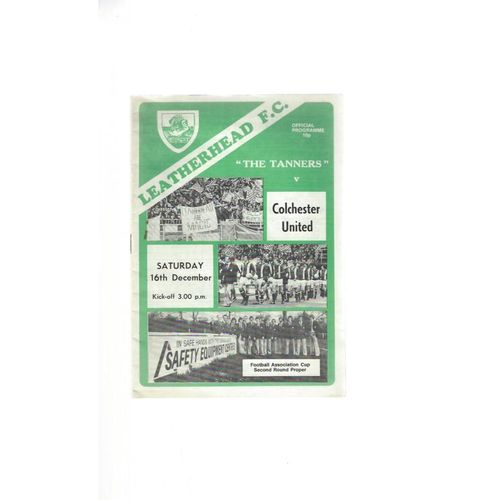 1978/79 Leatherhead v Colchester United FA Cup Football Programme
