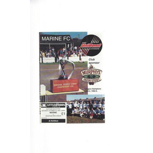 1995/96 Marine v Bradford Park Avenue FA Cup Football Programme