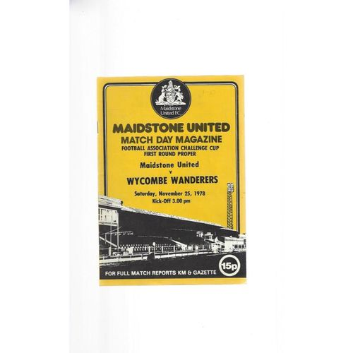 1978/79 Maidstone United v Wycombe Wanderers FA Cup Football Programme