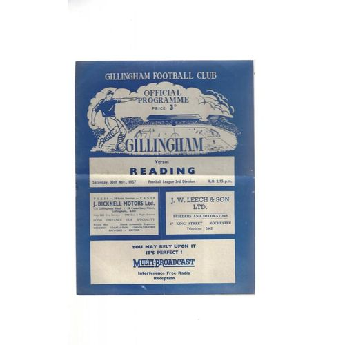 1957/58 Gillingham v Reading Football Programme