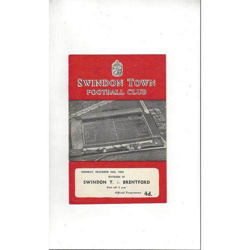 1960/61 Swindon Town v Brentford Football Programme
