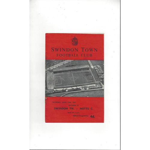 1960/61 Swindon Town v Notts County Football Programme