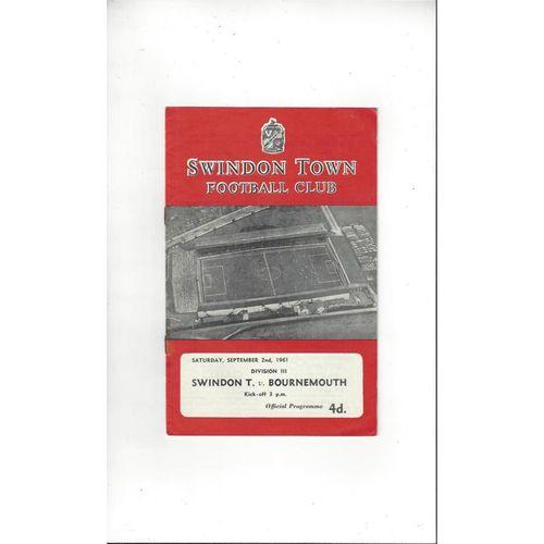 1961/62 Swindon Town v Bournemouth Football Programme