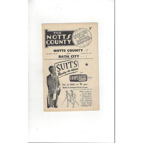 1959/60 Notts County v Bath City FA Cup Football Programme