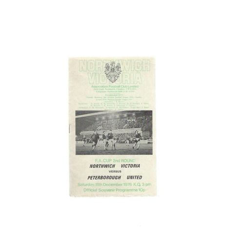 1976/77 Northwich Victoria v Peterborough United FA Cup Programme Dec 11th