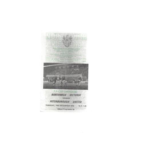 1976/77 Northwich Victoria v Peterborough United FA Cup Programme Dec 14th