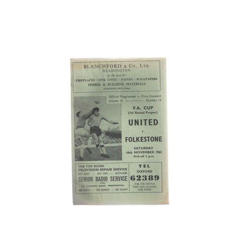 1963/64 Oxford United v Folkestone FA Cup Football Programme