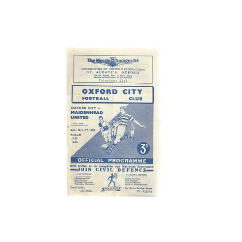 Oxford City v Maidenhead United FA Cup Football Programme 1959/60
