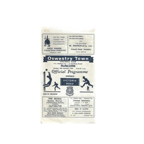 1969/70 Oswestry Town v Runcorn FA Cup Football Programme