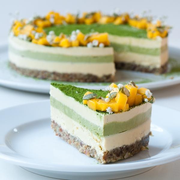 Mango Matcha Cheesecake