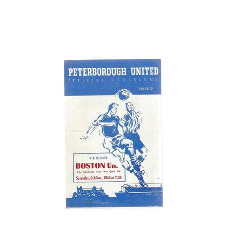 Peterborough United v Boston United FA Cup Football Programme 1954/55