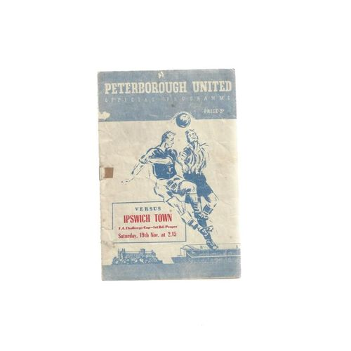 1955/56 Peterborough United v Ipswich Town FA Cup Football Programme