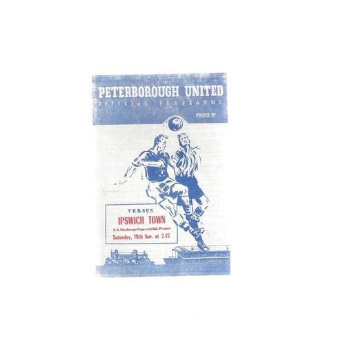 1955/56 Peterborough United v Ipswich Town FA Cup Football Programme Reprint