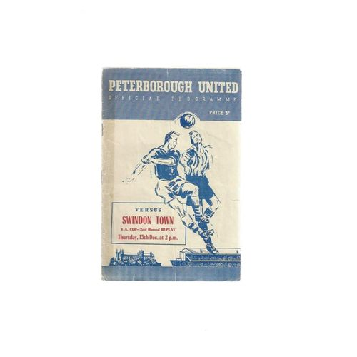 1955/56 Peterborough United v Swindon Town FA Cup Replay Football Programme