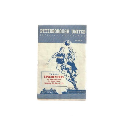 1956/57 Peterborough United v Lincoln City FA Cup Replay Football Programme