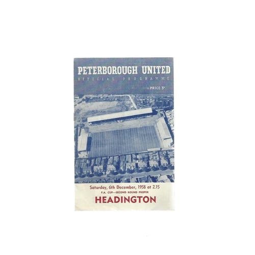 1958/59 Peterborough United v Headington FA Cup Football Programme