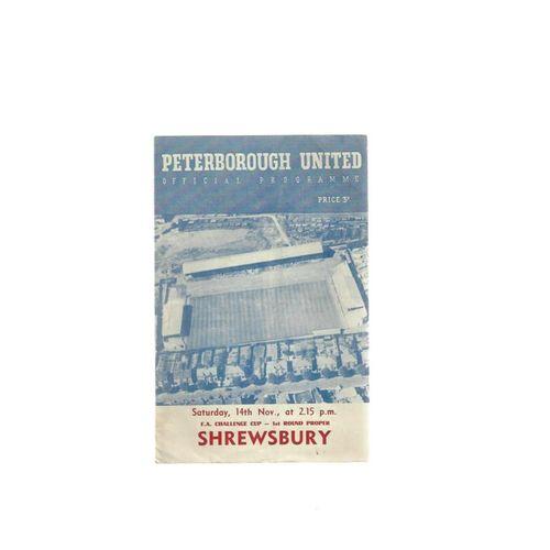 1959/60 Peterborough United v Shrewsbury Town FA Cup Football Programme