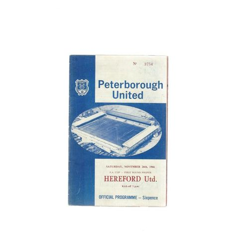 1966/67 Peterborough United v Hereford United FA Cup Football Programme