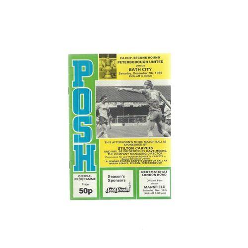 1985/86 Peterborough United v Bath City FA Cup Football Programme