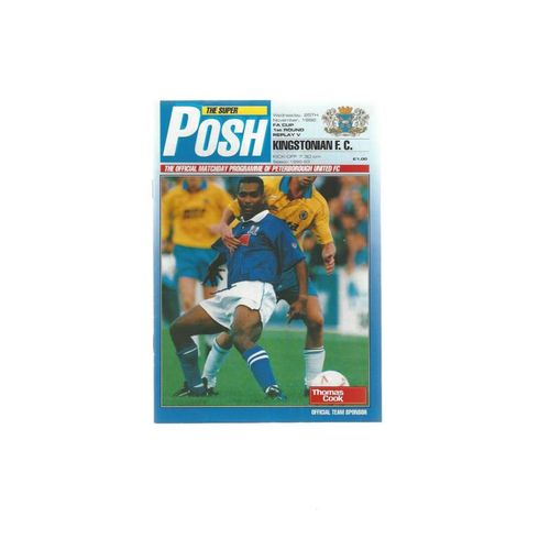 1992/93 Peterborough United v Kingstonian FA Cup Football Programme