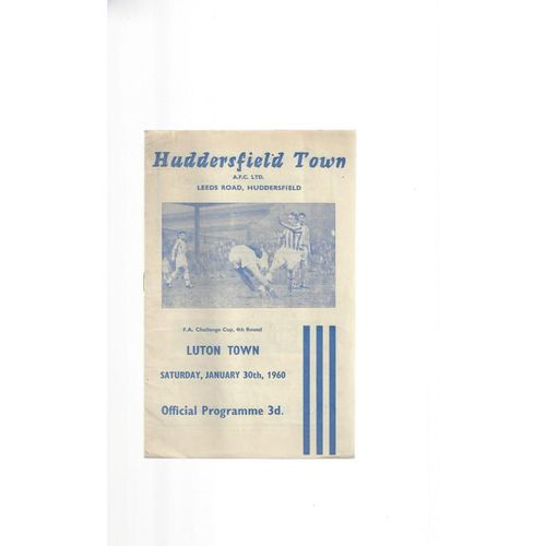 1959/60 Huddersfield Town v Luton Town FA Cup Football Programme