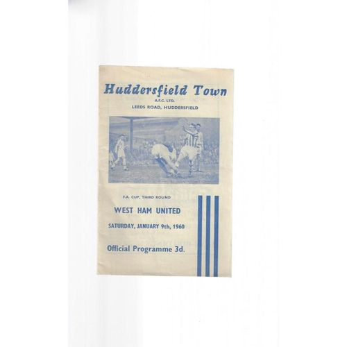 1959/60 Huddersfield Town v West Ham United FA Cup Football Programme