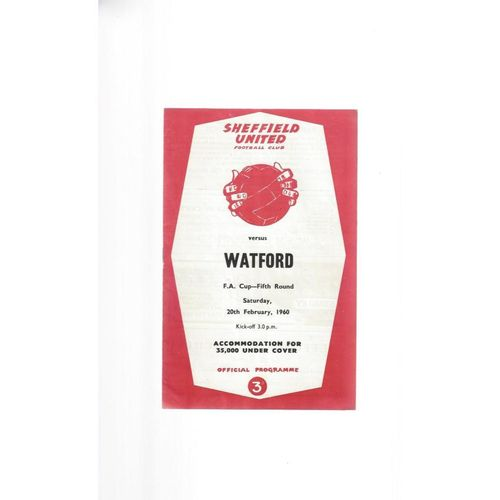 1959/60 Sheffield United v Watford FA Cup Football Programme