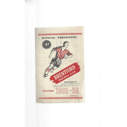 1955/56 Brentford v Portsmouth Southern Floodlight Cup Football Programme