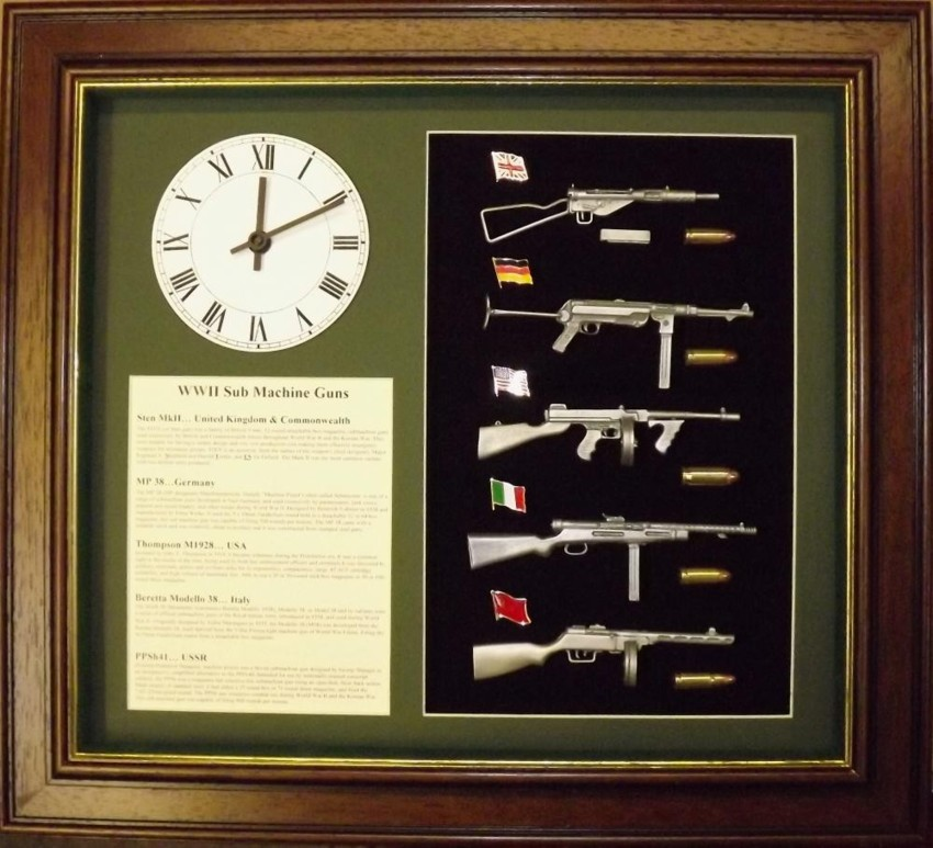 Wall mounted 1/6 pewter gun collection with clock