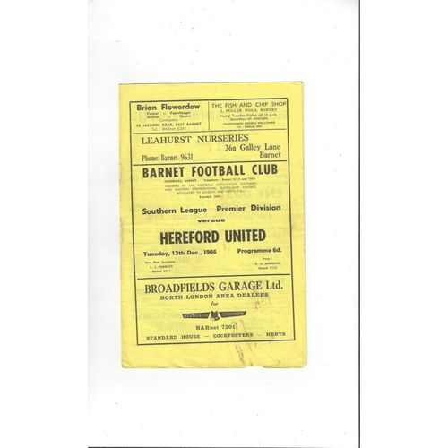 1966/67 Barnet v Hereford United Football Programme
