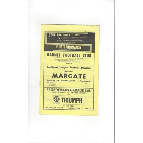 1968/69 Barnet v Margate Football Programme
